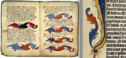 Göttingen, Universitätsbibliothek, Uffenb. MS 51 (left) and Gutenberg Bible (right)