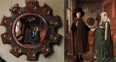 Jan van Eyck, Giovanni Arnolfini and his fiance, 1434 (right) and mirror detail (left)