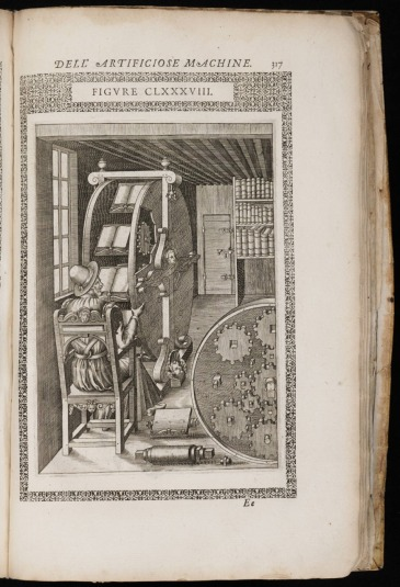 "From ""The Diverse and Artifactitious Machines of Captain Agostino Ramelli"", 1588."