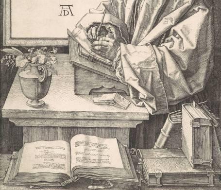 Albrecht Dürer's portrait of Erasmus, 1526 (detail)