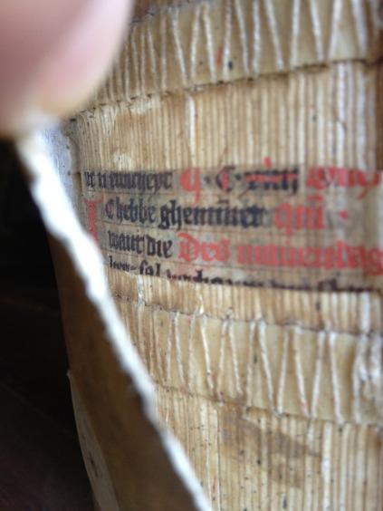 15th-century fragment inside bookbinding (Rolduc Abbey library) - Photo EK