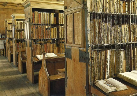 Book cupboards in Hereford Chained Library