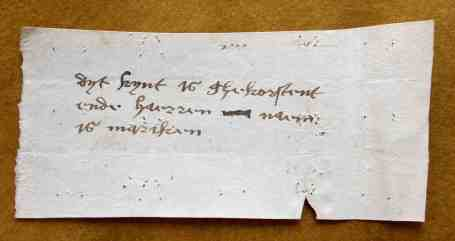 Erfgoed Leiden, HGW, Archiefnr. 519, Inv. nr. 3384, slip 6 (15th century)