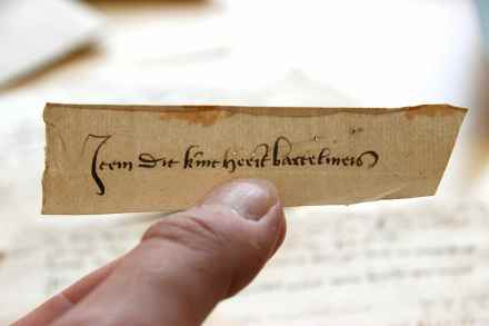 Erfgoed Leiden, HGW, Archiefnr. 519, Inv. nr. 3384, slip 1 (15th century)