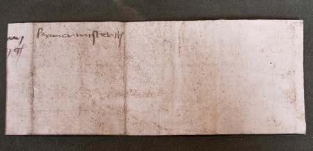 Leiden, Bibliotheca Thysiana, Chamberlain note from 1461 (back)