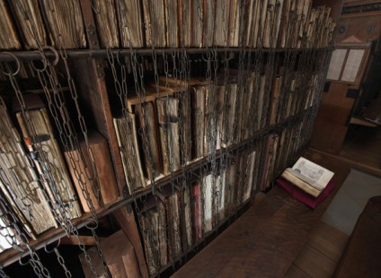 The chained library of Hereford Cathedral