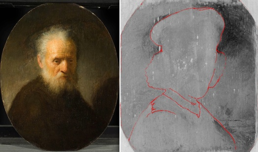 Rembrandt, Old Man with a Beard (left) and self-portrait (right) hidden underneath