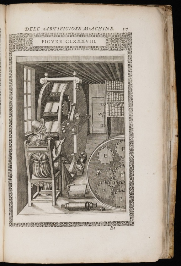 "The Diverse and Artifactitious Machines of Captain Agostino Ramelli"", 1588."